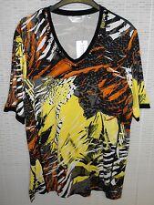 Elegantes Damen Shirt DONNA LISA V-Ausschnitt Halbarm Bunt gemustert Größe: 46