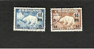 1959 Greenland SC #39-40 POLAR BEARS used stamp set