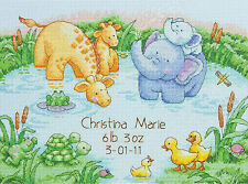 Cross Stitch Kit ~ Dimensions Little Pond Cute Animals Birth Record #70-73697