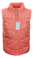 MOTHERCARE Girls Baby Gilet Coral Navy Padded Warm Fleece Lined Bodywarmer BNWT