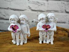 Engelpärchen Engelspaar Glücksbringer weiß rosa 10 cm Dekofigur Deko
