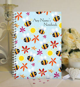 Personalised A5 Softbacked Notebook, Notepad, Bee Themed