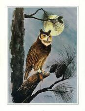 BILL WESLING Rare c1970 S&N Ltd Ed 421/500 OOP Halftone Litho GREAT HORNED OWL