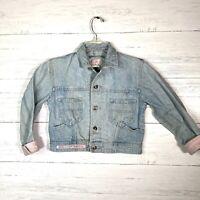 Vintage 80s Taboo Girls Light Wash Denim Jean Jacket Pink Accents Sz M 7/8