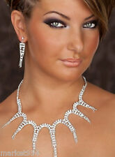 Spiky Necklace & Earrings SET Rhinestone Crystals Prom Dress Wedding jewelry