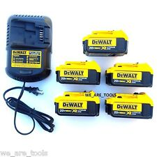 5 New Genuine Dewalt 20V DCB204 4.0 AH Li-on Batteries,(1) Charger For Drill,Saw