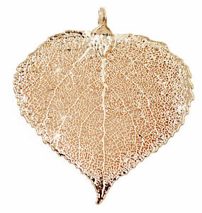 Zhannel Real Leaf PENDANT ASPEN Dipped in Rose Gold Genuine Leaf New