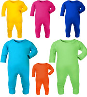 BABY BOYS & GIRLS UNISEX COLOURS  BABY GROW SLEEP SUITS PLAYSUIT ROMPER SUITS