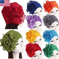 Womens Hair Loss Head Scarf Turban Cap Big Flower Muslim Cancer Chemo Cover Hat