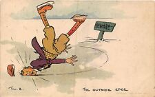 POSTCARD  COMIC  TOM  BROWNE    JOLLY  SKATERS   The  Outside  Edge
