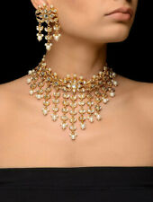 Golden Collar Choker Gold Plated Jadau Kundan & Pearl Necklace Set with Earrings