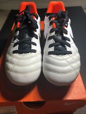 NEW Nike jr TIEMPO NATURAL IV LTR FG leather white soccer cleats, Size 1Y
