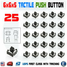 25Pcs 6x6x5mm PCB Momentary Tactile Tact Push Button Switch 4 Pin DIP Micro