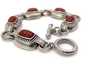 Judith Ripka  Sterling Silver and Red Jasper Toggle Bracelet