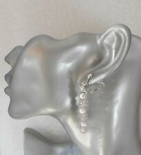Silver flower bead/stardust bead earrings - clip-on or pierced