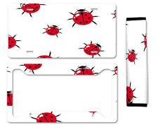 Ladybug Auto Car License Plate Frame Seat Belt Cover Gift Set