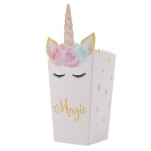 12pcs Unicorn Popcorn Paper Box Birthday Party Loot Lolly Favour Treat Bag LS3