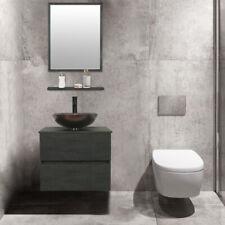 "24"" Bathroom Vanity Set Glass Vessel Sink Wall Mount Faucet Drain Concrete Grey"