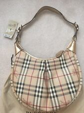 NWT BURBERRY Haymarket Check Rydal Gold Hobo Bag Shoulder