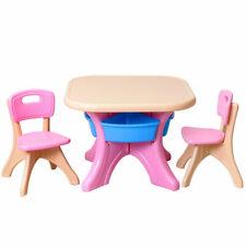 Plastic Children Kids Table & Chair Set 3-Piece Play Furniture Indoor/Outdoor