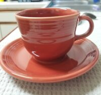 Fiestaware Fiesta Homer Laughlin Persimmon Cup & Saucer Set - EXCELLENT