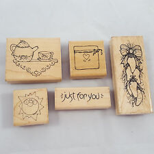 Close to My Heart Rubber Stamp 6 ct Lot Mounted Teapot Tea Cup Chili Peppers Sun