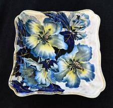 "Atq BROWN WESTHEAD & MOORE England Cobalt Blue MALLOW Floral 6 1/2"" Square Bowl"
