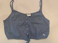 Abercrombie Womens Button Blue Button Up Camisole Crop Top - Large - New