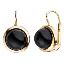 NEU 333er Damen Onyx Ohrringe Edelstein Ohrhänger schwarz echt Gold 8 Karat 333