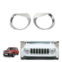 Front Light Cover Angry Bird Headlight Bezels Cover Trim For 15-17 Jeep Renegade