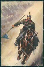 Militari Reggimentale Nizza Cavalleria Lancieri RIFILATA cartolina XF6826