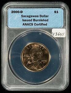 2000-D $1 Sacagawea Dollar Burnished - from Coin & Currency Set - ANACS - Y3641