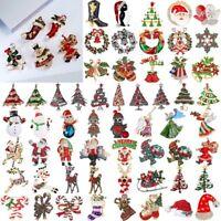 Christmas Tree Snowman Brooch Pin Crystal Santa Claus Xmas Custome Jewelry Gift