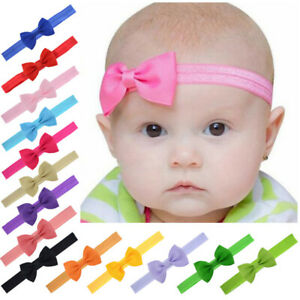 Baby Girls Bow Headband Hairband Soft Elastic Band Hair Accessories 20 colours