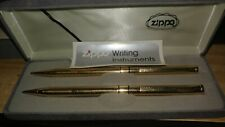 1980s Zippo Writing Instruments Pen and Pencil set brass / gold finish NOS w box