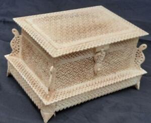 Islamic museum quality mughal style handmade jaali work box of natural bone