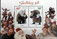 2000 MNH ICELAND CHRISTMAS ELF STAMPS SHEET OF 2 ELVES HOLIDAY