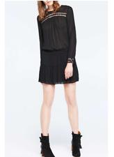 BA&SH £195 Current Season Black Joli Noir Dress s.2 UK10 NEW