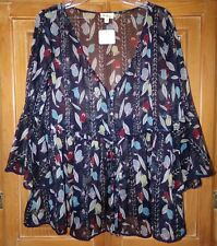 NWT POL WOMENS SIZE L BLUE FLORAL SMOCKED TUNIC TOP SHEER CHIFFON 3/4 SLEEVES