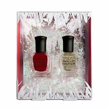 Deborah Lippmann Nail Polish Ice Queen 2 Pc Set New In Box Red Gold Glitter
