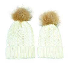 Warm Winter 2PCS/Set Mother+Baby Newborn Knit Pom Bobble Hat Girl Boy Cotton Cap