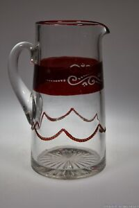 """c. 1899 No. 1295 AKA BEAD SWAG by Heisey RUBY STAINED 9 1/4"""" Handled Jug"""