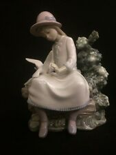 Nao by Lladro Feasting Doves Girl on Bench w Doves Porcelain Figurine #0383 Mint