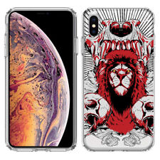 For Apple iPhone X Red Lion Skulls Clear Phone Protector Cover Case