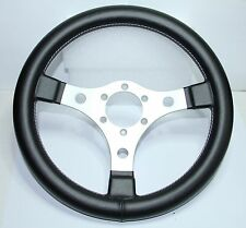 CLASSIC FAUX LEATHER BLACK STEERING WHEEL 320mm 13inch MADE IN ITALY *NEW*
