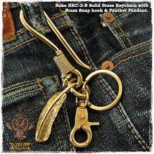 Boka Biker Brass Wire Hook Feather Key Chain Fob Clip Wallet Harley Motorcycle