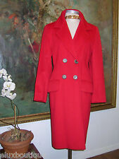 DEJAC Paris COAT Wool 4 Buttons Double Breasted Red Long Outerwear 6 8 Exquisite