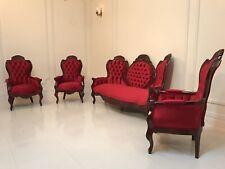 Louis XV 19TH Century Restored Antique Sofa Hand Carved Cedar Velvet Parlour Set