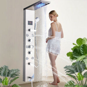 LED Shower Panel Tower Column System W/ LCD Temperature Display Stainless Steel