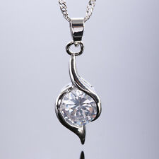 Xmas Fine Clear Topaz White Gold Gp Pendant Necklace Lady Gift Jewel For Dress